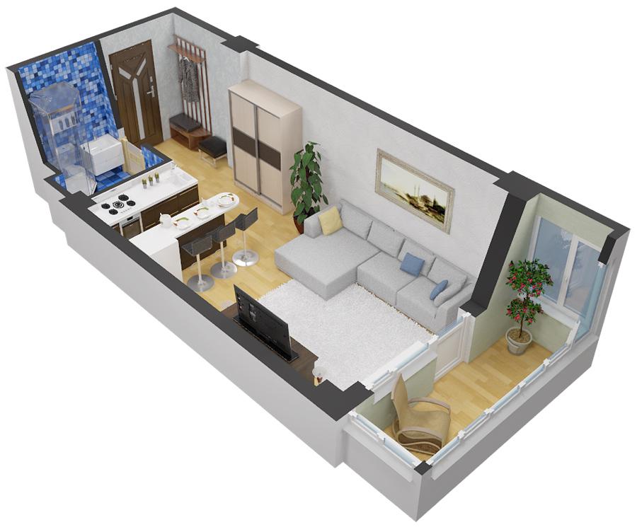 Дизайн планировка студии