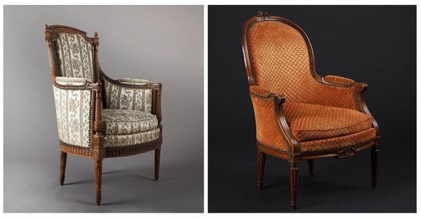 Бержер Марии-Антуанетты. Высокое статное кресло со слегка изогнутой спинкой и низкими сплошными боковыми стенками, заканчивающимися подлокотниками.