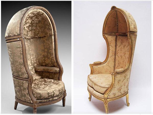Бержер-монгольфьер или Бержер Помпиду. Самое причудливое творение XVIII века, хорошо прижившееся в Англии. Это высокое кресло со сплошными стенками и полусферическим куполом.