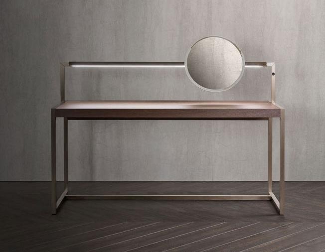 Туалетный столик из серии Continuum, диз. Маттео Нунциати. Дуб, тонированный в оттенок кофе, или орех сanaletto rialto с LED-подсветкой. Cтруктура из стали в финише «анодированная бронза» или gris sablé.